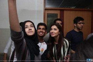 IOBM students with Mahira Khan
