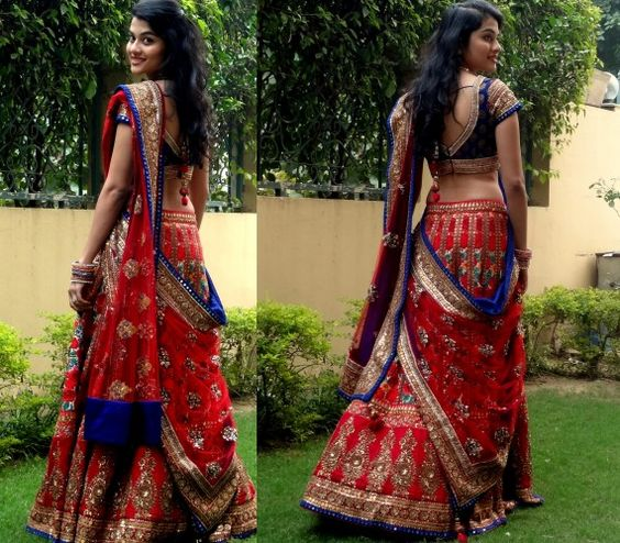 Indian Wedding lehngay 2016- red and blue