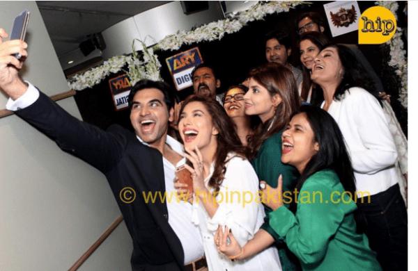 Mewish Hayat and Humayun Saeed at the launch of drama Dillagi.happy