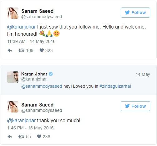 Sanam Saeed and Karan Johar
