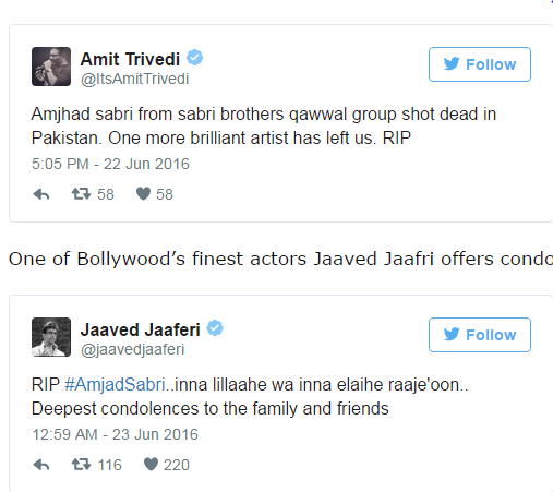 See Bollywood is also shocked at tragic death of Amjad Sabri