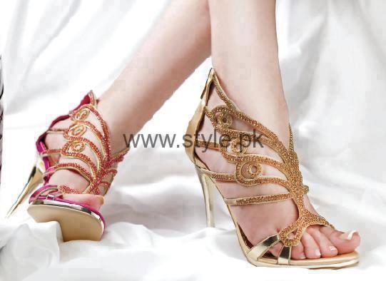 Latest Bridal Golden High Heels 2016 (2)
