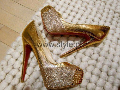 Latest Bridal Golden High Heels 2016 (3)