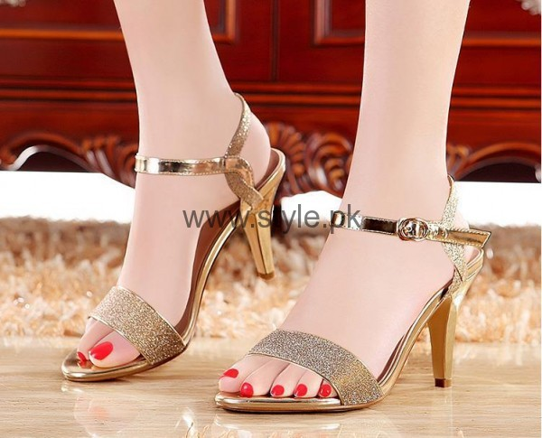 Latest Bridal Golden High Heels 2016 (7)