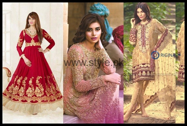 See Latest Embroidered dresses 2016 for Newly Married girls