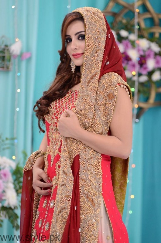 Red Bridal Dress in Nida Yasir's Good Morning Pakistan Show