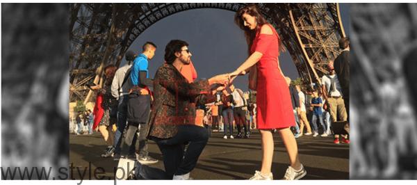 Farhan Saeed proposing Urwa Hocane in Paris (1)