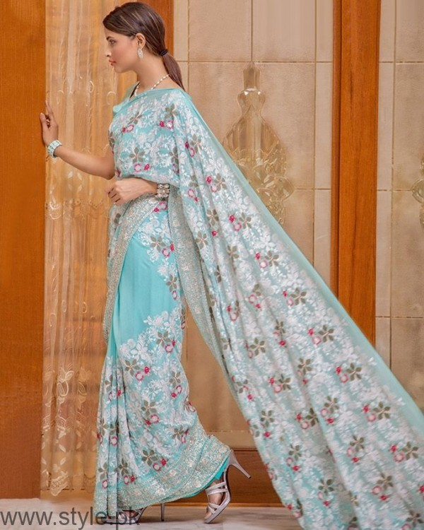 Palwasha Fabrics Light Blue Chiffon Embroidered Stitched Saree