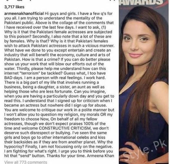 Armeena Rana Khan speaking against the cyber bullies