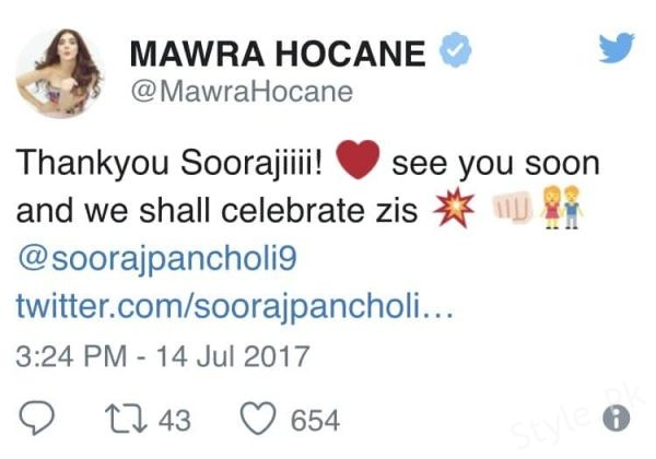 see Mawra Hocane Was Congratulated By Sooraj Pancholi