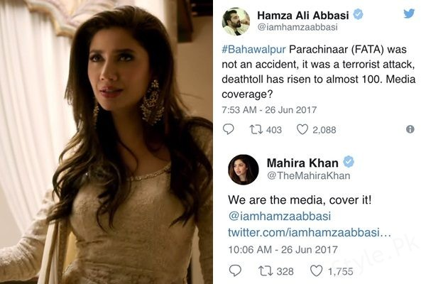 See Mahira Khan replied brilliantly to Hamza Ali Abbasi's Tweet