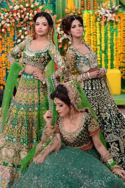 Latest Mehndi Dresses And Mehndi Makeup