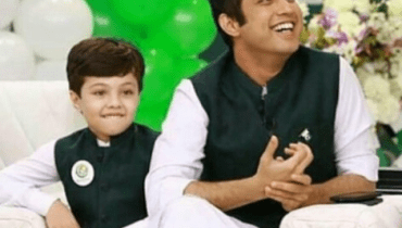 Iqrar Ul Hassan With His Son Celebrating Independence Day