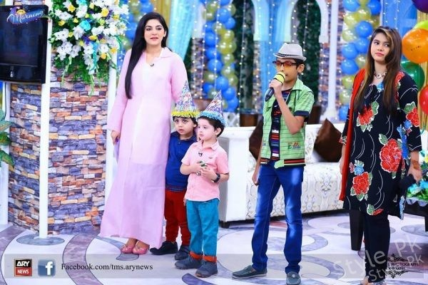 Fatima And  Kanwar's Son Alimir's Birthday Celebrations At Morning Show Of Sanam Baloch