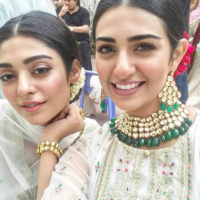 Beautiful Sisters Sarah And Noor Khan Shooting for Maria B Eid Collection