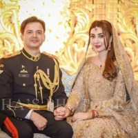 Beautiful Ayesha Khan And Major Uqbah on their Walima Ceremony