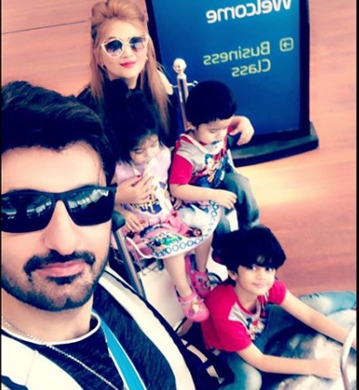 See Syed Jibran with his Wife and Kids while going to UK