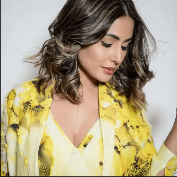 Hina Khan's pictures in a yellow-floral pantsuit