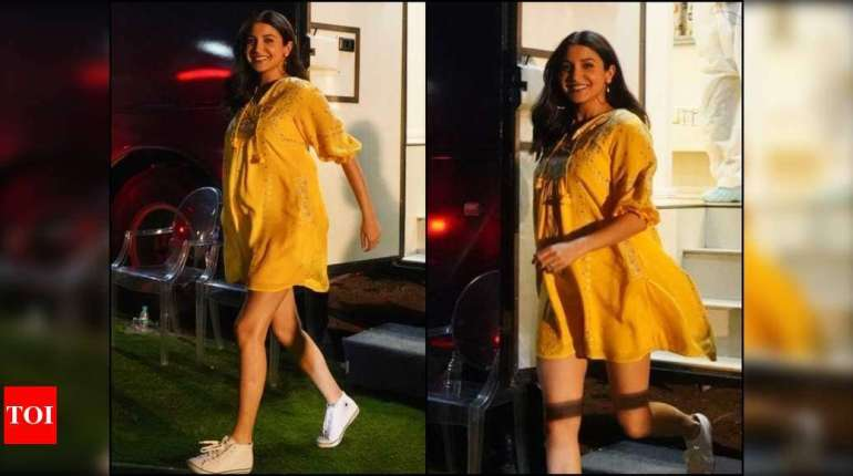 Pregnant Anushka Sharma Stuns In A Yellow Beautiful Dress