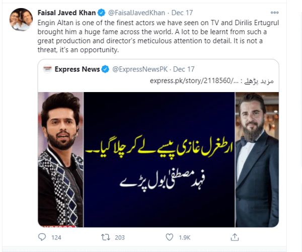 Ertugrul came took money and left that's all, Fahad Mustafa