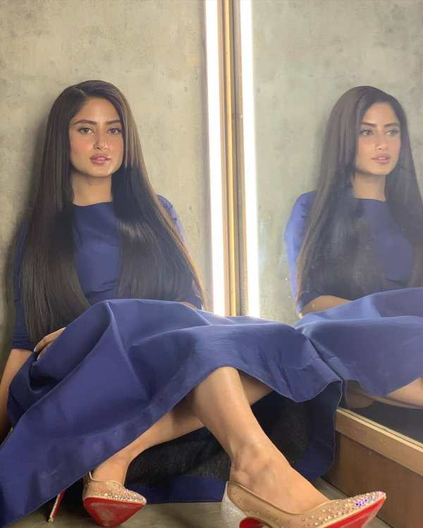 Sajal Aly showed off her exquisite looks in a beautiful blue dress!