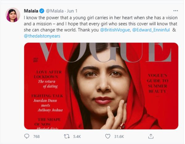 Malala Yousafzai Graces Cover Of Fashion Magazine Vogue