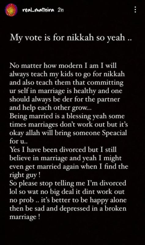 Mathira Shares Her Views After Malala Statement On Marriage