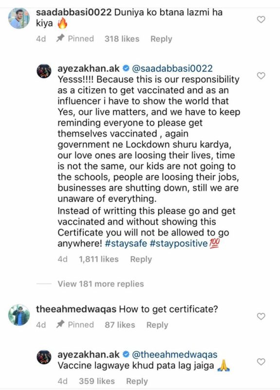 Ayeza Khan Claps Back At a Troll Who Criticized Her
