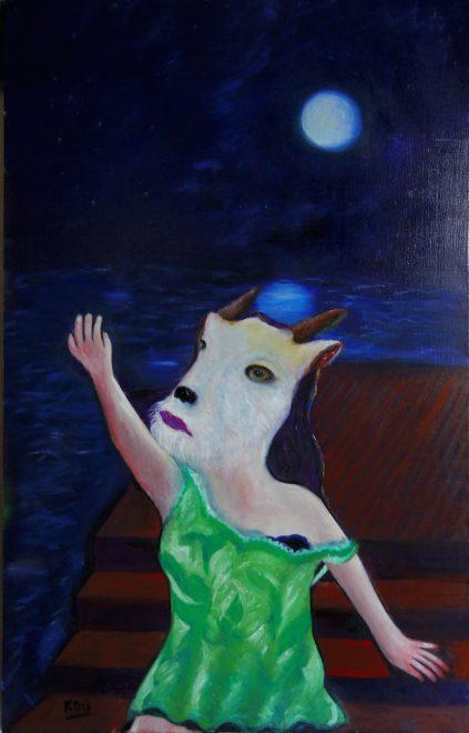 蒼月の桟橋に山羊