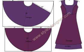 Layered Anarkali pattern drafting