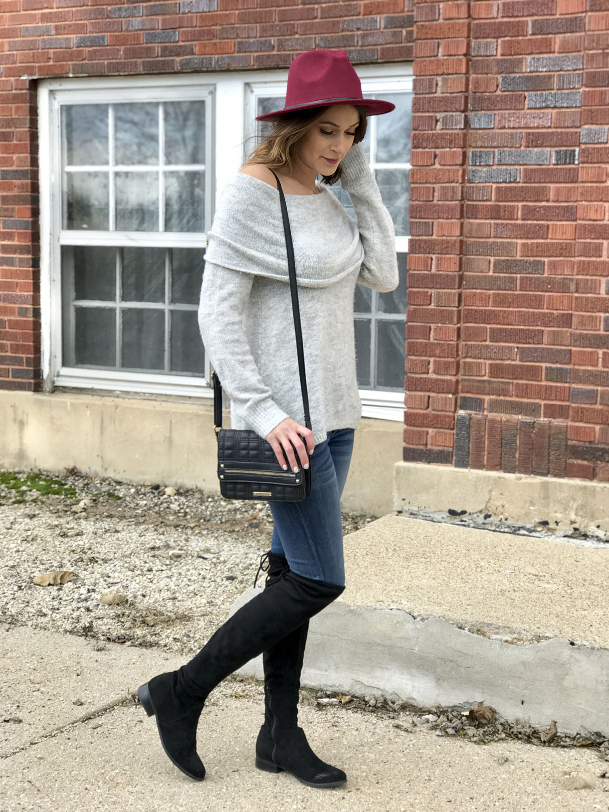 Burgundy Hat look 3
