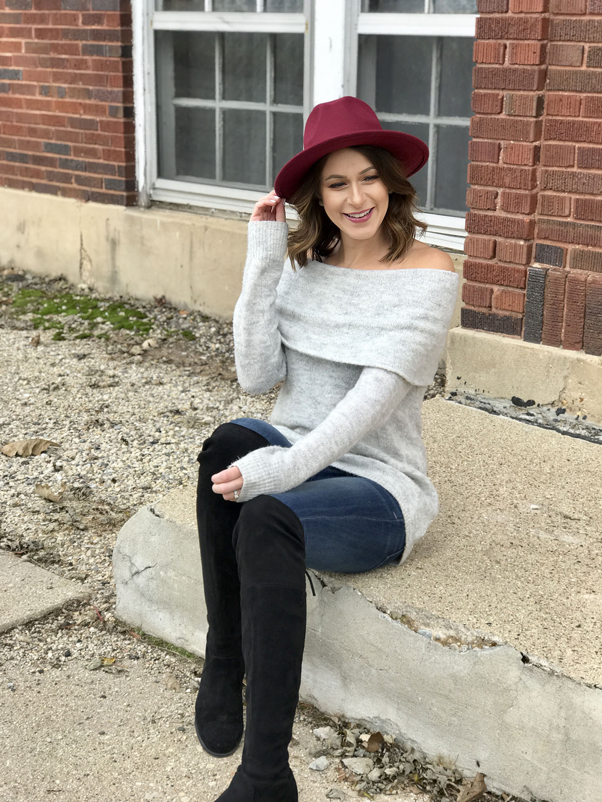 Burgundy Hat look 5