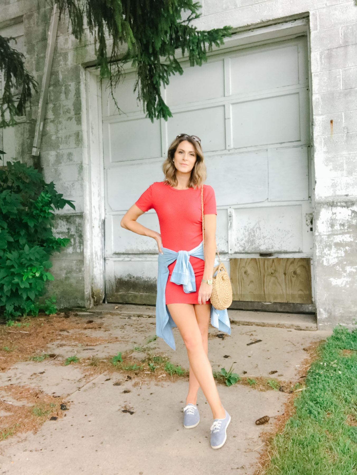 Outfit Idea: Red Dress + Sneakers