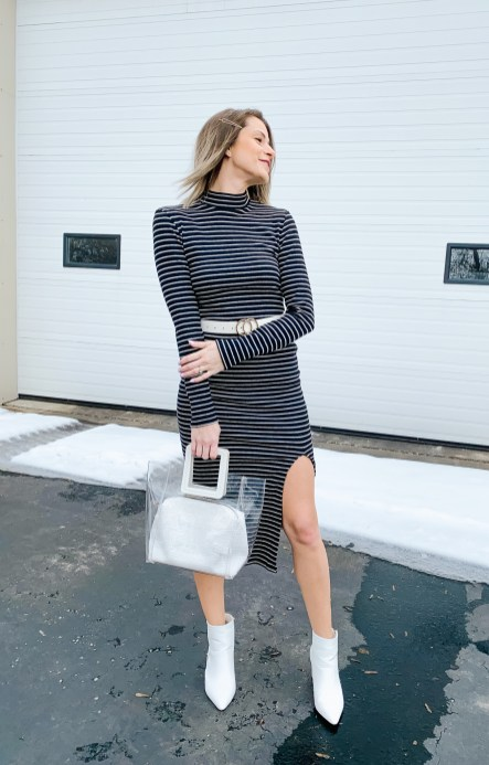 Dress with white booties