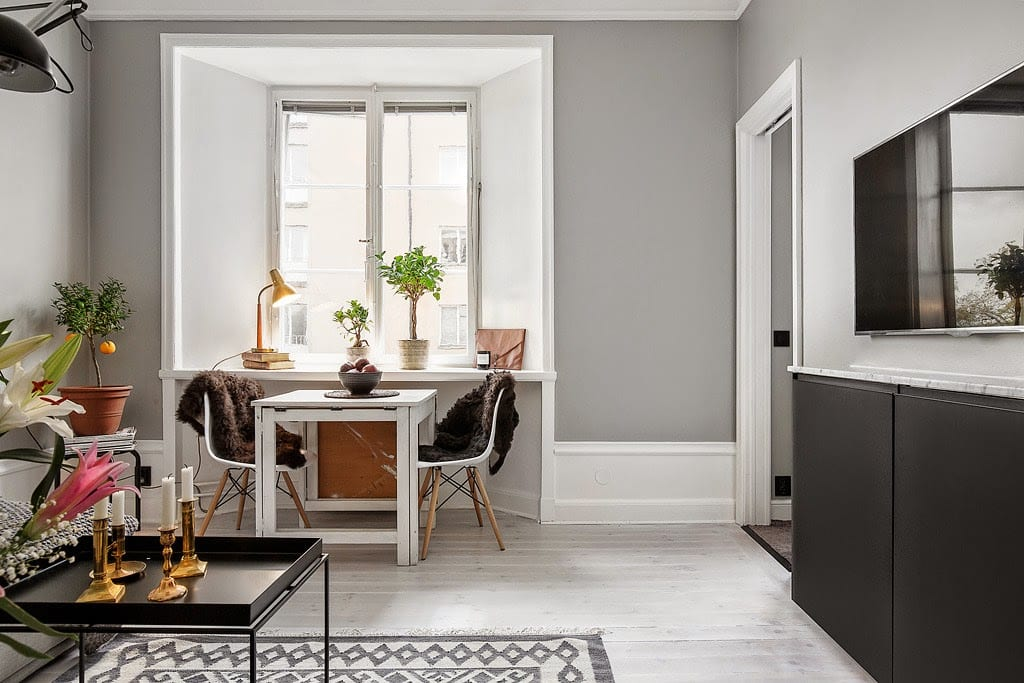 A Small Grey Apartment In Stockholm
