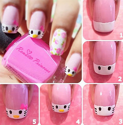 Kitty Steps Nail Art Tutorail