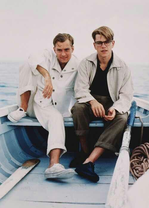 Matt Damon as Tom Ripley and Jude Law as Dickie Greenleaf in the perfect boat look. The Talented Mr. Ripley, Anthony Minghella (1999)