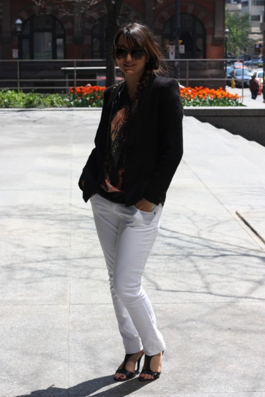 bf628614 What I Wore: Men's T-shirt, Ring – Forever 21; Blazer – Zara; Jeans –  Winners; Sunglasses – H&M; Shoes – Nine West; Backpack – Chanel