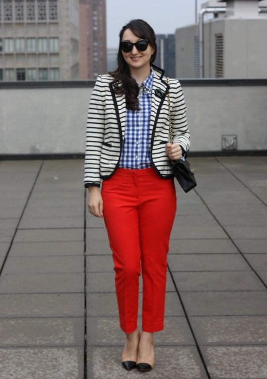 striped jacket skinny pants
