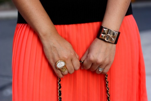 orange-pleated-skirt-
