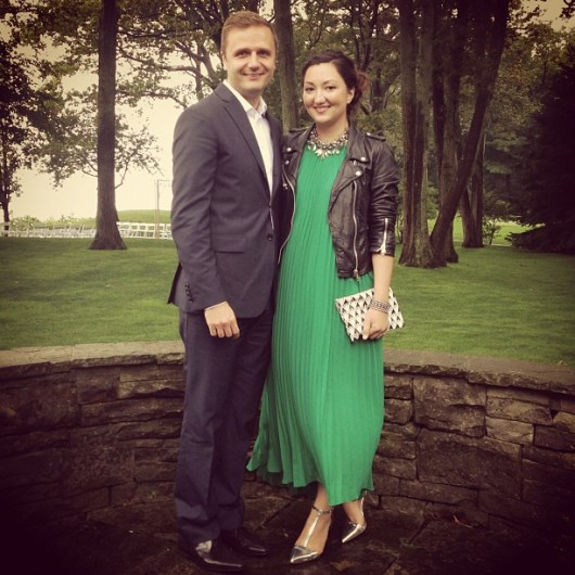 green-pleated-maxi-dress-leather-jacket