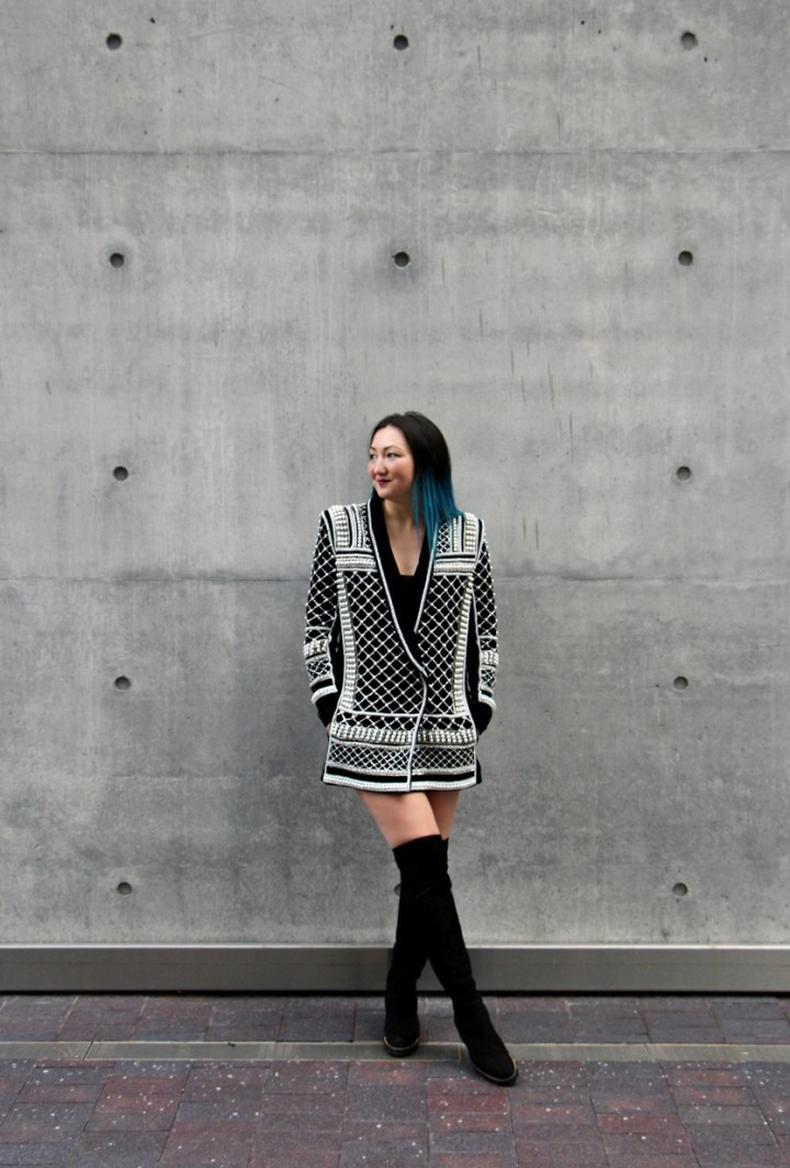 balmain-h&m-beaded-jacket-blazer-dress-over-the-knee-la-canadienne-boots-11