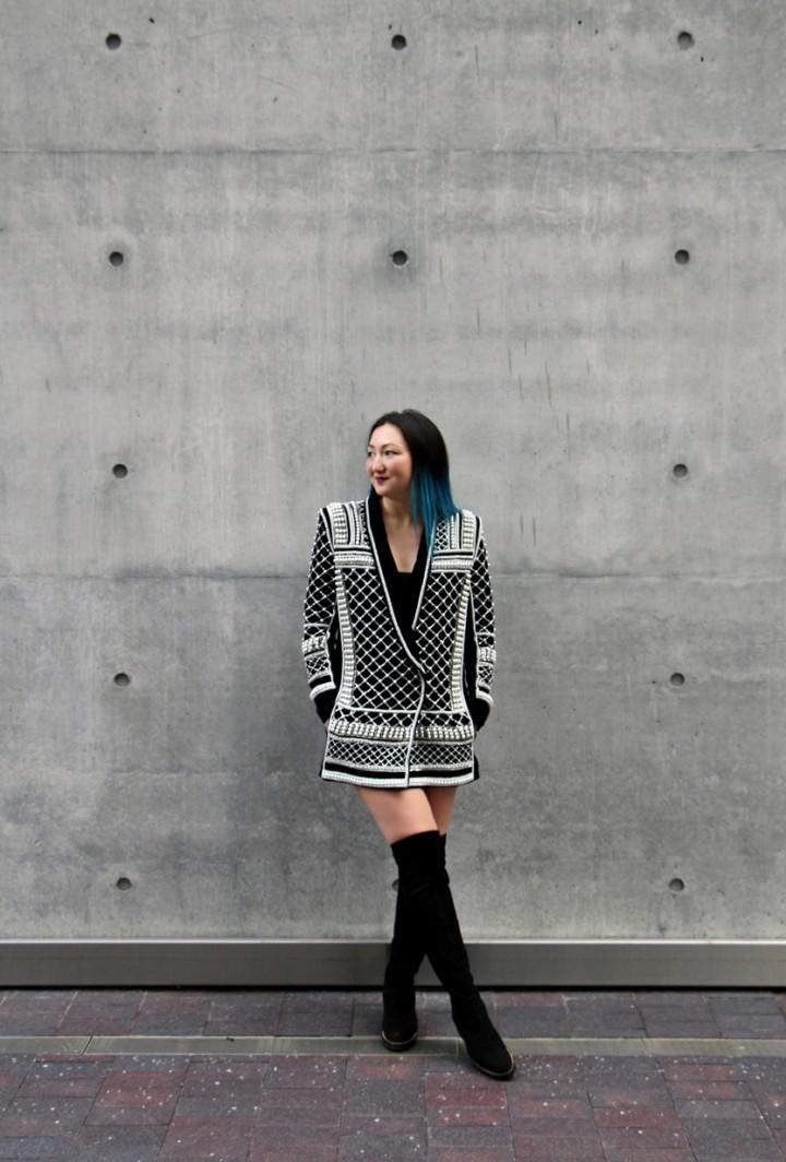 balmain-h&m-beaded-jacket-blazer-dress-over-the-knee-la-canadienne-boots-11