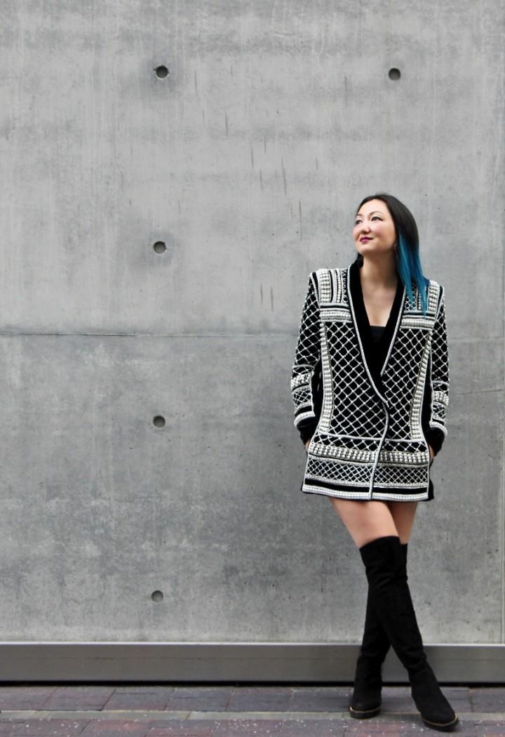 balmain-h&m-beaded-jacket-blazer-dress-over-the-knee-la-canadienne-boots-16