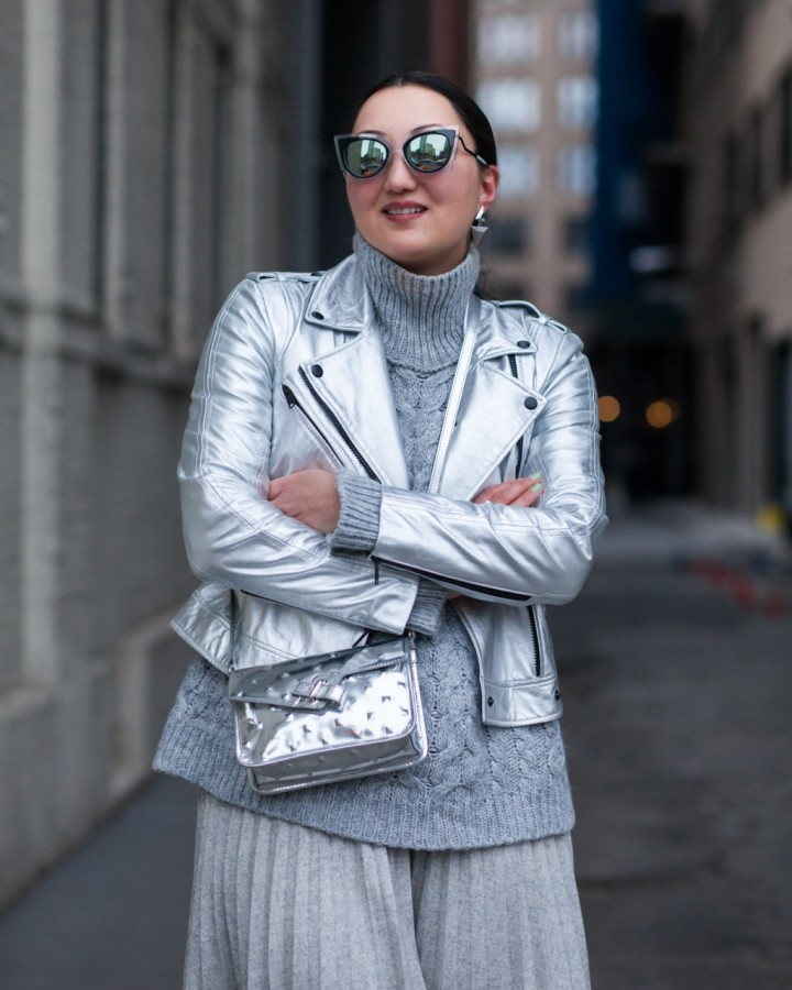 silver-leather-jacket-midi-pleated-skirt-oak-fort-fendi-sunglasses