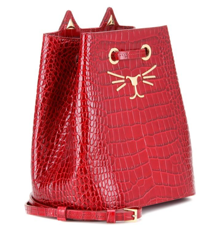 charlotte-olympia-feline-bucket-bag-red-embossed-leather