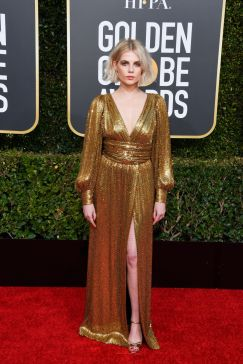 golden-globe-awards-2019-lucy-boynton-celine