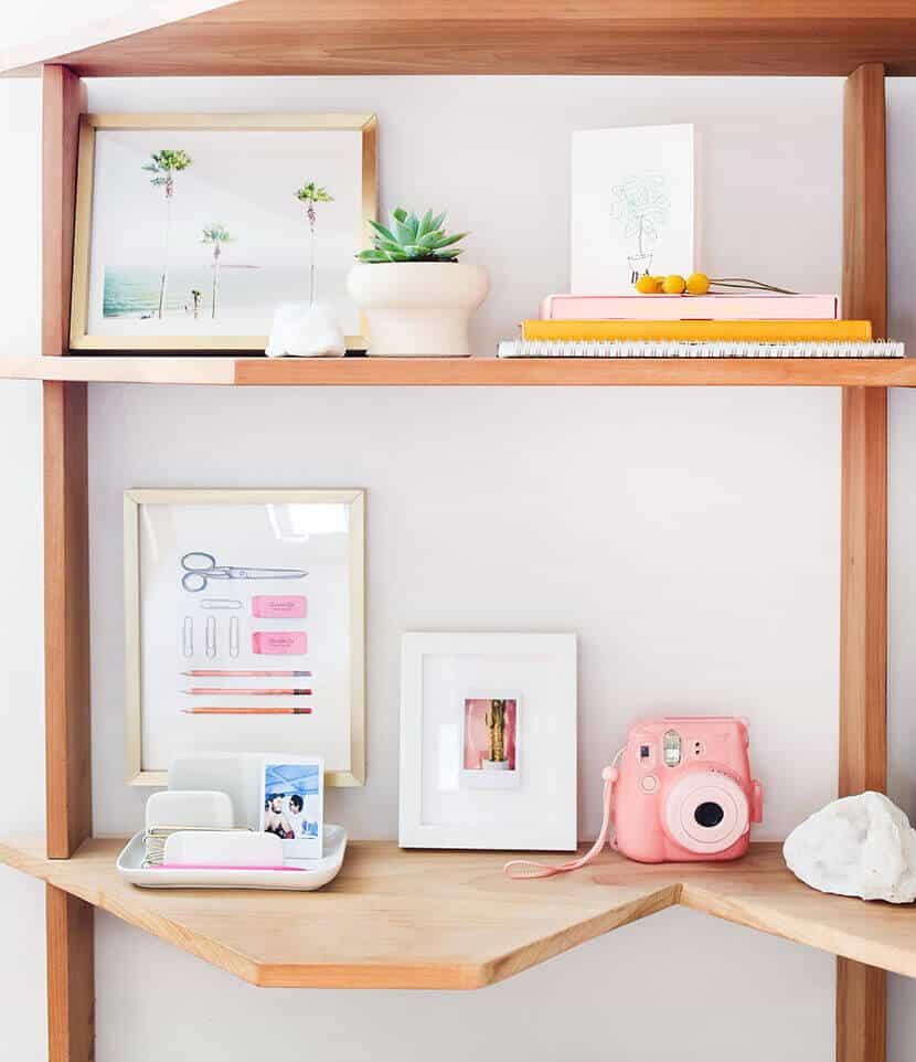 Emily Henderson Bedroom Office Shelves
