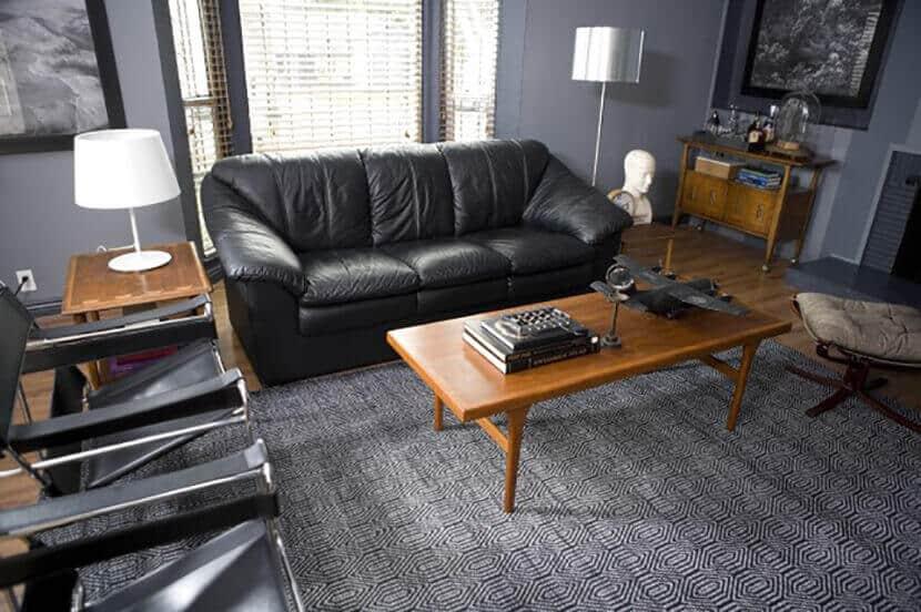 Emily Henderson Masculine Black Leather Living Room