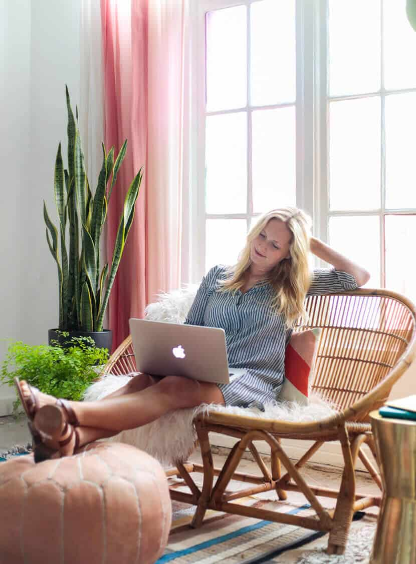Gila DIY Window Film Happy Bright Pastel Emily Henderson Bamboo Seating Area Emily